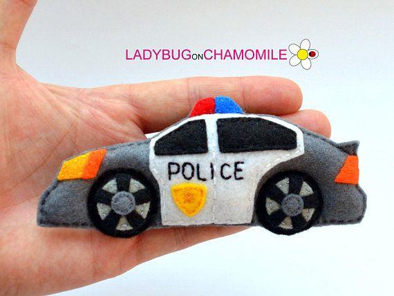 Politieauto Voelde Gevulde Vilt Politie Auto Magneet Of Felt Toys Felting Projects Felt Dolls