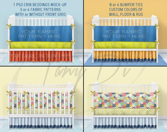 Crib Beddings mockup 4CBM1 White Crib Bumper by TanyDiDesignStudio