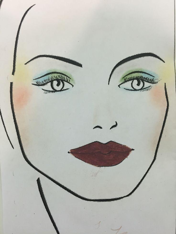 Ansiktskort: Jag tyckte sminkningen på ögonen blev bra men jag kunde tagit en lite ljusare färg för att få det att passa in bättre i resten av makeupen. Det jag fortfarande behöver öva på är näsan och ögonbrynen.