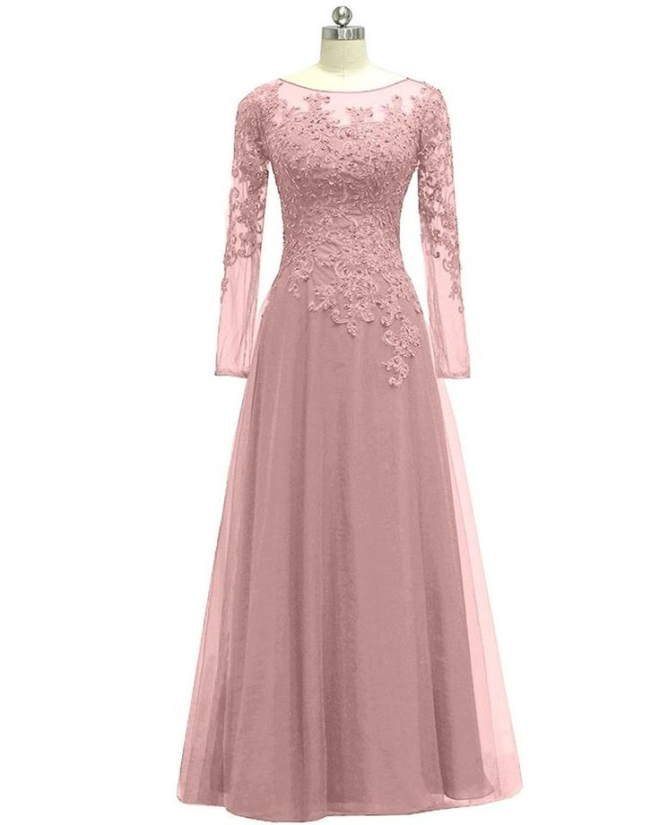 Women's Appliques Tulle Mother Of The Bride Dress Long Sleeves Evening Formal Gown