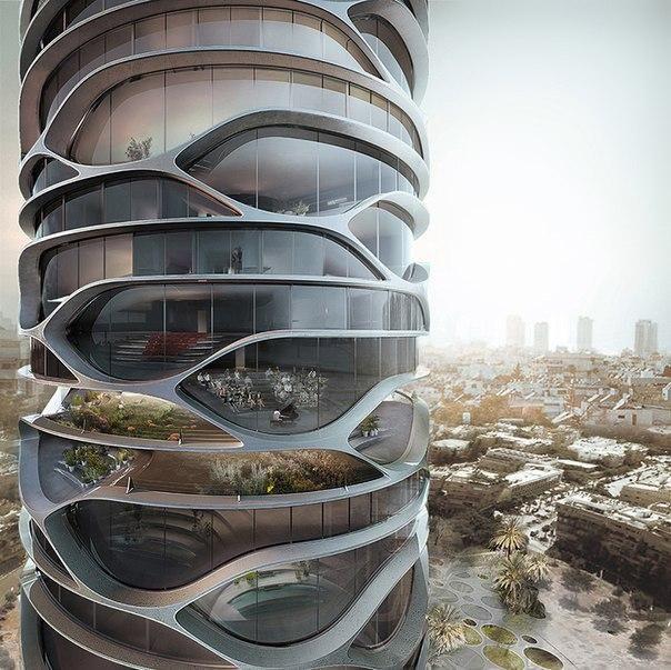 Бельгийский архитектор Давид Тайчман (David Tajchman) представил концепт жилого небоскреба с необычной структурой. Здание спроектировано как монолитное, с иным расположением бетонных плит изогнутой формы. Жилая башня будет оснащена ресторанами, теплицами и садами. Кроме здание объединяет целый ряд инновационных функций, в том числе автоматизированный паркинг и зарядные станции для электрических транспортных средств.