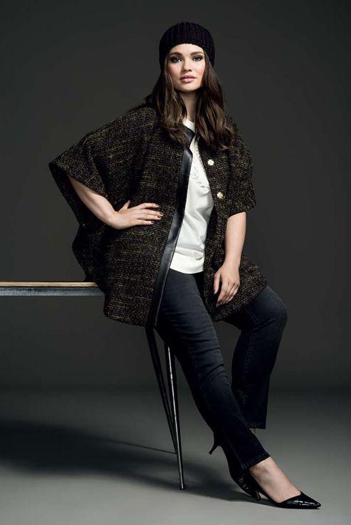 Couchel - Moda - El Corte Inglés. Curvy model Tara Lynn #plus size #beanie #coat #denim