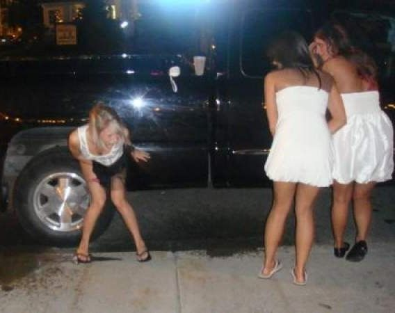 Drunk girls pissing in public