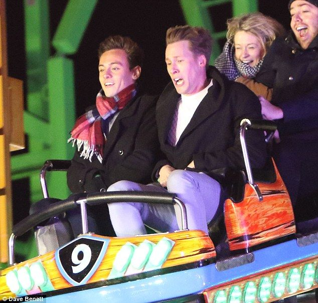 Anticipation: Not phased by the height of the ride, Tom looked completely at ease as the car began it's descent