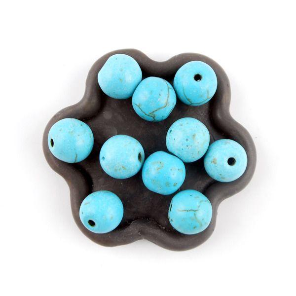x10 Perles rondes en howlite turquoise 10mm : Perles Synthétiques par perlio
