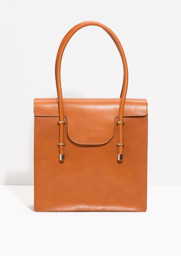 Other Stories image 1 of Premium Leather Tote Bag in Camel