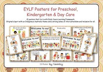 EYLF Posters with Indigenous Australia Theme