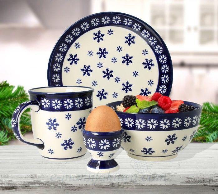 Breakfast set  Winter pattern Bolesławiec pottery