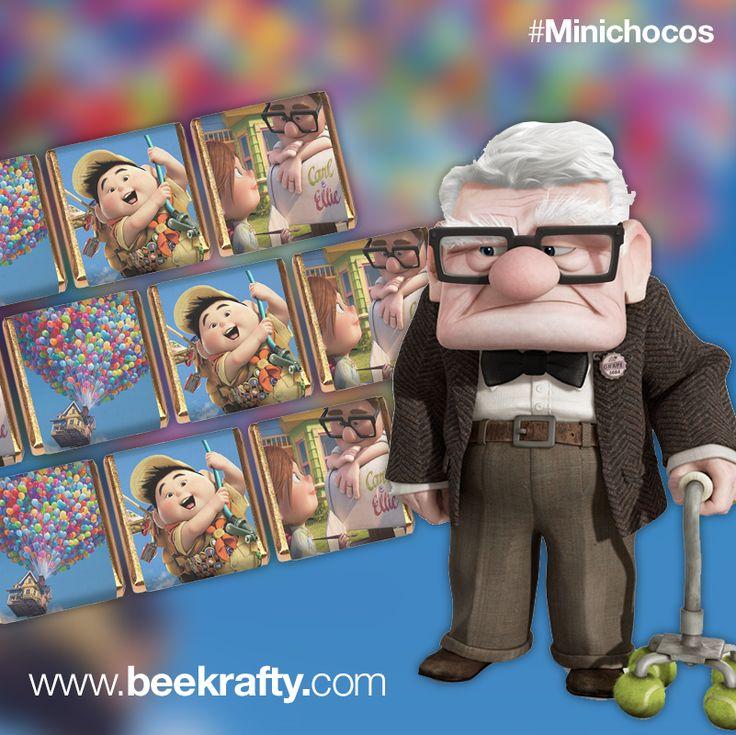 Minichocos personalizados de Up. Si tienes un evento y quieres regalar un detallito original, en www.beekrafty.com podemos personalizarte los chocolates con lo que quieras. #beekrafty #pasionporcrear
