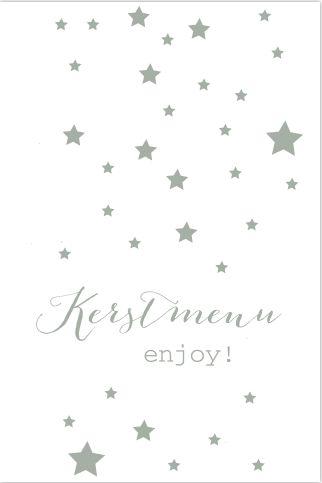 Hippe wit met groene kerstmenu kaart met sterren en een mintgroen accent alles is geheel zelf aan te passen. Gratis verzending in Nederland en België.