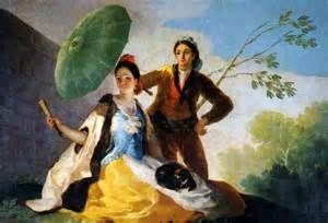 """""""Il parasole"""", Francisco Goya, 1777; olio su tela, 152×104 cm. L'opera venne realizzata in seguito all'incarico ricevuto dall'artista nel 1774 di fornire cartoni per l'altezza reale di Santa Barbara; è conservata attualmente al Museo del Prado, Madrid"""
