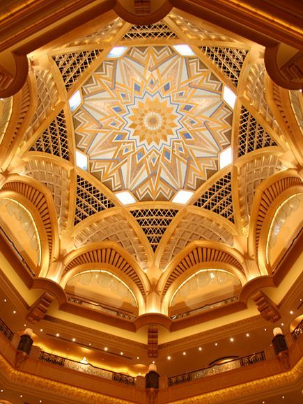 Luxury Hotel Interior  Photograph by Kevpix/Alamy    The interior ceiling of the luxurious Emirates Palace hotel in Abu Dhabi reflects the opulence of the city, which can also be seen in its ultramodern office towers, shopping centers, and pristine infrastructure.