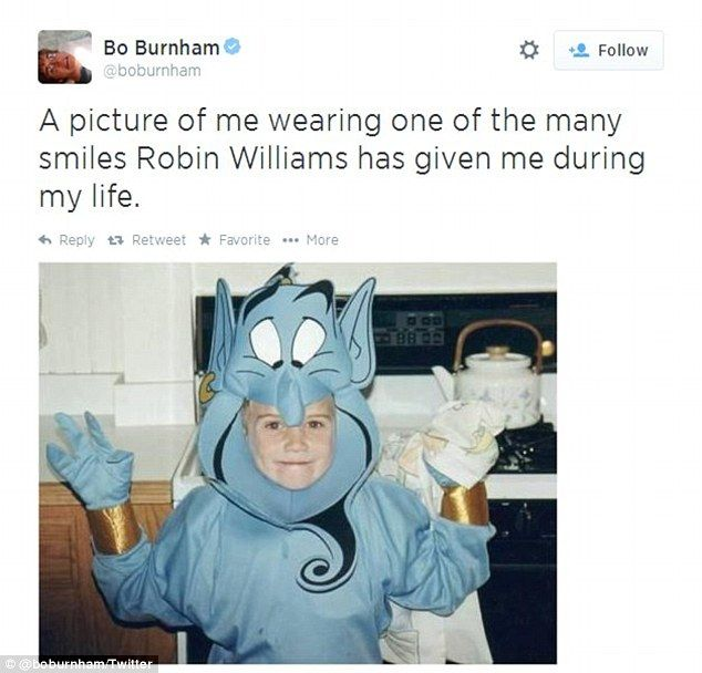 Rainie saved - Childhood memories: Comedian Bo Burnham shared this snap of him as a child dressed as Robin Williams' character from 'Aladdin'