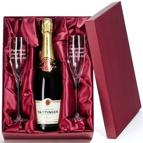 Deluxe Taittinger Champagne and Engraved Flutes  from Personalised Gifts Shop - ONLY £89.95