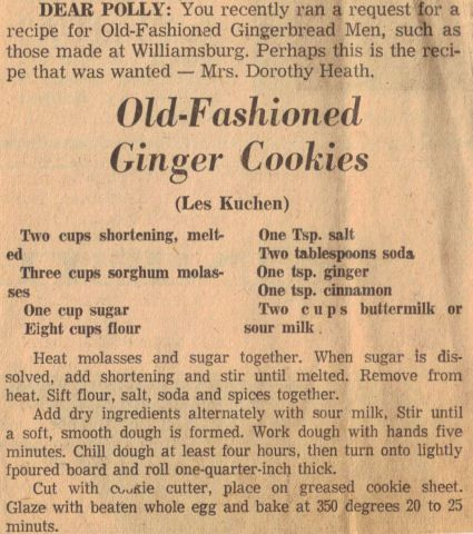 Old Fashioned Ginger Cookies Recipe Clipping