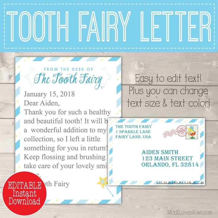 Personalized Tooth Fairy Letter Kit Boy Printable Download