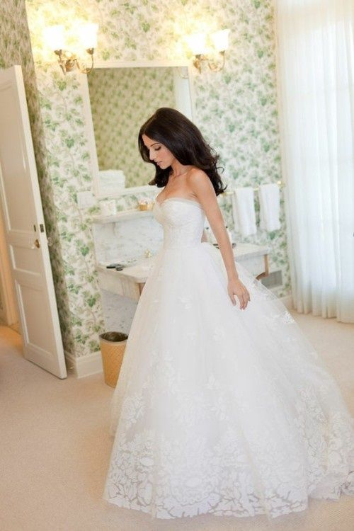 love this dress! the lace at the bottom is really adorable!! - Click image to find more Weddings Pinterest pins
