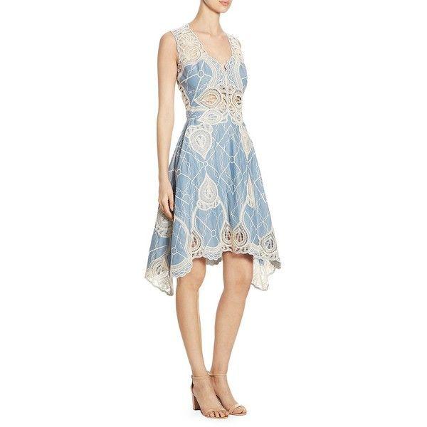 Jonathan Simkhai Embroidered V-Neck Dress ($845) ❤ liked on Polyvore featuring dresses, cotton dresses, white v neck dress, handkerchief hem dress, white crochet dress and white day dress