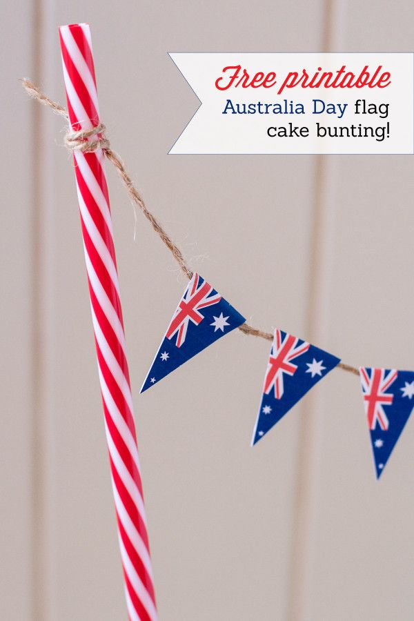 Printable Australia Day Bunting for cakes!  Lamington Cake with Milo Icing for Australia Day - Love Swah