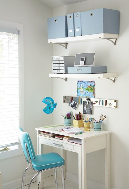 Small areas are unique decorating tasks, must make use of all available areas / surfaces, and this is a marvelous example of how to do so.  Minimal color contrasts also tend to give us a feeling of tranquility and space.  This is Something Beautiful!  #something_beautiful_shoppe  desk organization via House & Home