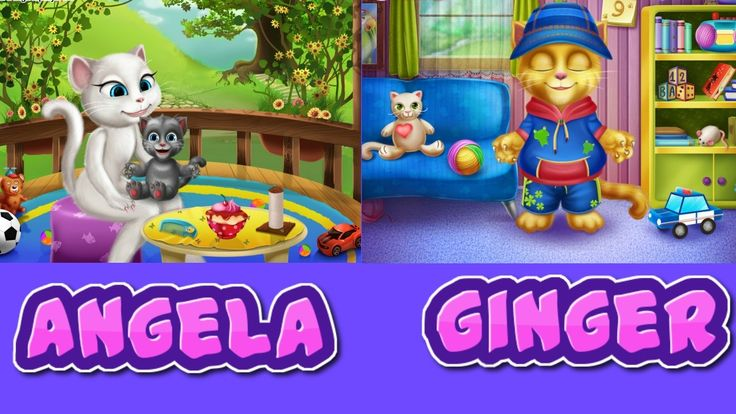 ►My Talking Angela and My Talking Ginger Baby Bath | Talking Angela and ...