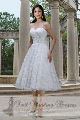A-lijn thee-lengte Appliques bruiloft jurk Sweetheart TJ2012132