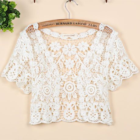 Plus Size S-XL 2016 Brand Women's Short Sleeve Crochet Shrug Lace Hollow Out Many colors Tassel Sweater Cape Cardigan Shurg