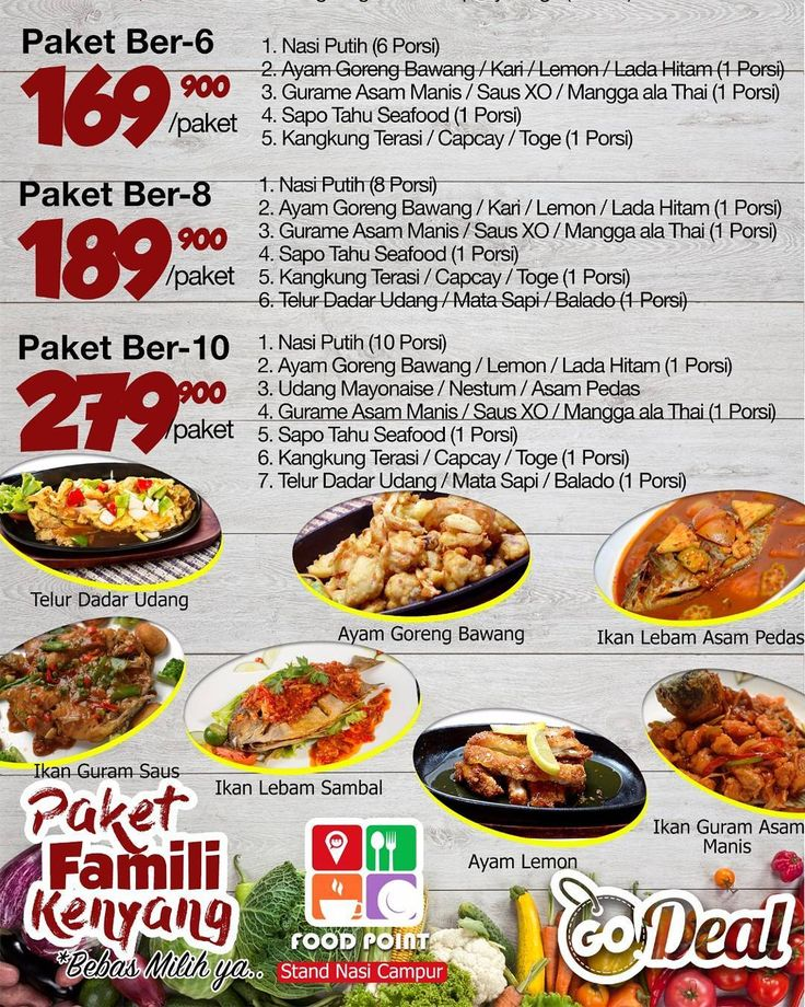 Paket Keluarga Ber-4 mulai dari Rp. 149.9000- Paket hemat makan di Foodpoint kini tersedia di GoDeal! Nikmati berbagai paket dengan harga yang lebih murah disini dengan paket sebagai berikut : 1. Paket Ber-4 (Hanya Rp 149.900) - Nasi Putih (4 porsi) - Ayam G.Bawang/Kari/Lemon/Lada Hitam (1 porsi) - Ikan Lebam Asam Pedas / Saos Sambal (1 porsi) - Telur Dadar Udang / Mata Sapi / Balado (1 porsi) - Kangkung Terasi/Capcay/Toge (1 porsi)  2. Paket Ber-6 (Hanya Rp 169.900) - Nasi Putih (6 porsi)…