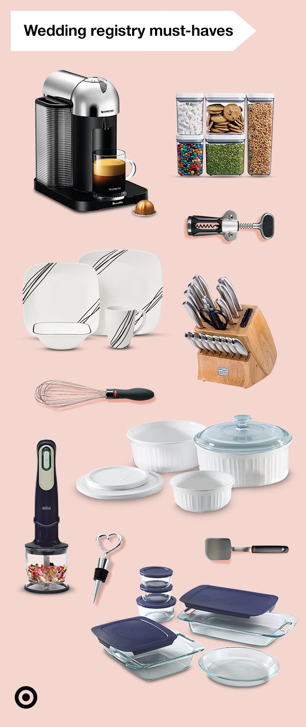 Get started on your happily ever after by adding these must-haves to your wedding registry. Make meal time easier with a Braun Hand Blender & a Chicago Cutlery set. Serve in style with a dinner set from Corelle. Storing those leftovers will be effortless with storage sets from OXO or Pyrex. And don't forget to add a Nespresso Coffee Machine & CorningWare set to your list.