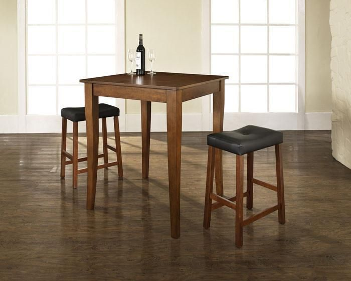 Crosley Furniture KD320004CH 3 Piece Pub Dining Set with Cabriole Leg and Upholstered Saddle Stools in Classic Cherry Finish