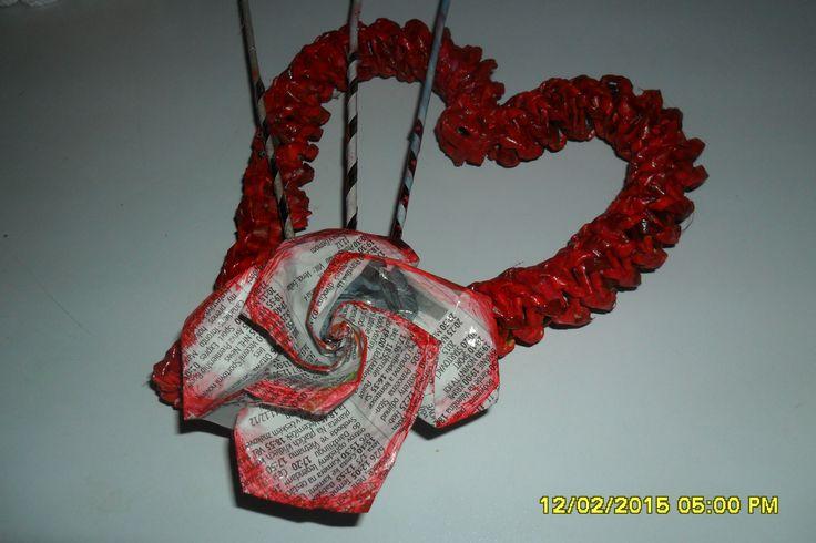 Pletenie z papiera: Valentínske srdiečko