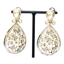 Tears of Heaven Earrings  gold and silver cubic Zirconia pear drop