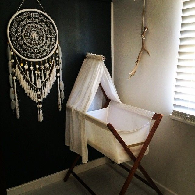 Love our White Lullaby in this stunning Scandinavian inspired nursery. Available at http://www.goldendreamers.com.au/product/golden-dreamers-oversized-dream-catcher-white