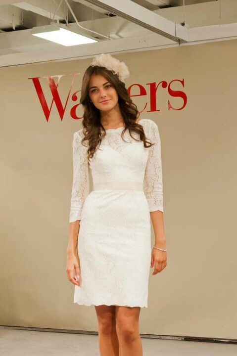 short white dress with three quarter sleeve