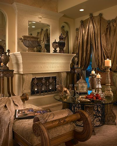 a beautiful Tuscan home and decor...notice the cascading drapes in the background,arent they lovly..cherie