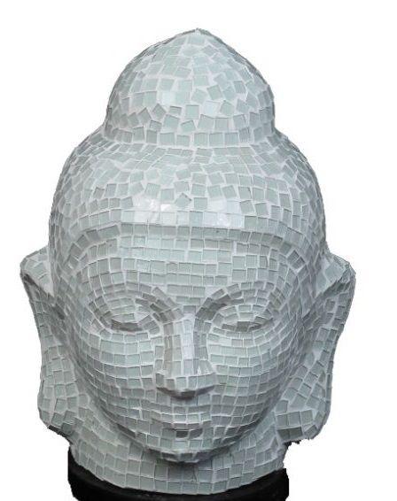 Lampara buda pequeña, en fibra revestida de cristal en mosaico. http://www.aleko.kingeshop.com/Lampara-buda-pequena-dbaaaaima.asp
