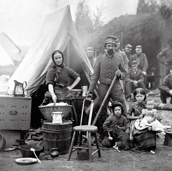 "Rare Civil War Photos Wives and children sometimes followed their husbands to war, particularly in the early period of the conflict. ""(The soldiers) were in the camp, and the women and the kids were right there."