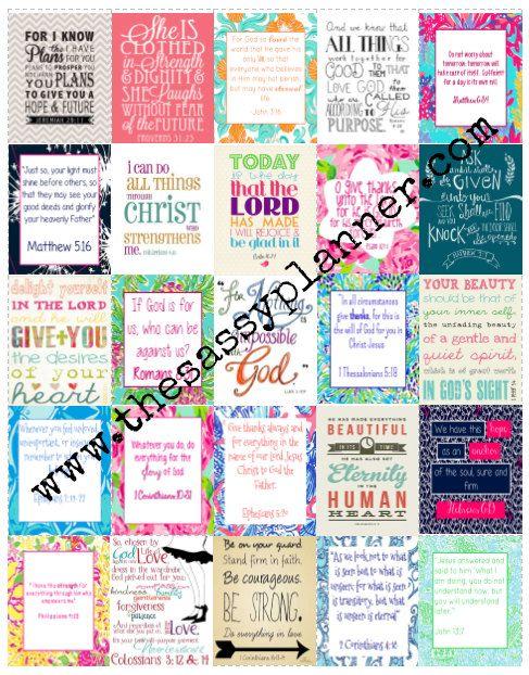 DOWNLOADABLE Bible Verses Motivation Inspirational Printable Stickers for Erin Condren Life Planner