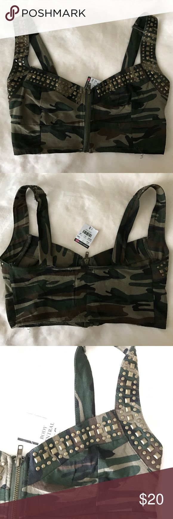 Camouflage Bustier Top Brand new never been worn. I was planning to wear it for a halloween costume as army girl but that didn't happen. Cute top for any regular occasion or for upcoming halloween! Frontal zipper and studs. Body Central Tops