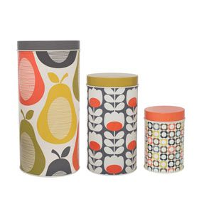 Pear Print Assorted Canister Tins - Set of 3 Multi