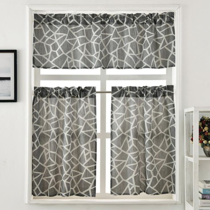 Kitchen Curtain Set Valance and Tiers