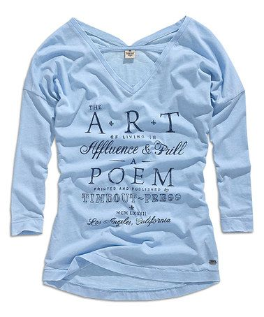 Another great find on #zulily! Light Blue 'Art' Three-Quarter Sleeve Top #zulilyfinds