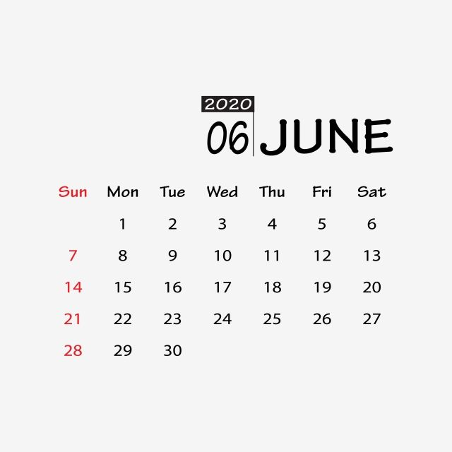 June 2020 Clipart Vector Png Element August Calendar New2020