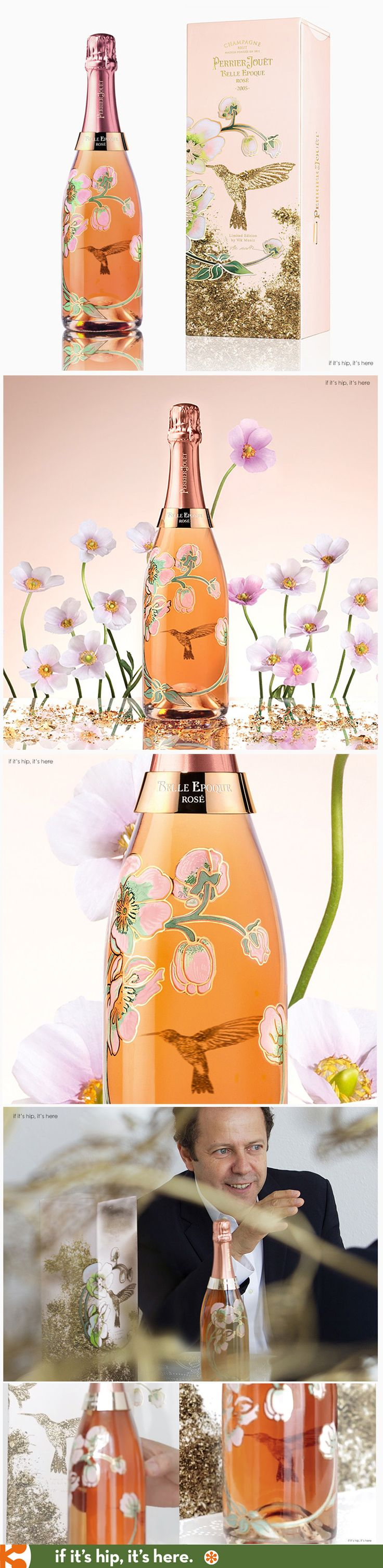 Artist Vik Muniz designs limited edition bottle and packaging for Perrier Jouet Belle Epoque Rose.   Video interview with Muniz and more pics at http://www.ifitshipitshere.com/artist-vik-muniz-creates-limited-edition-hummingbird-bottle-perrier-jouet/