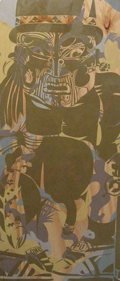 Artist: Reweti Arapere  Te kai ra mua a mata  year: 2010  size: 1820 x 800 x 10 mm  media: acrylic and aerosol on plywood