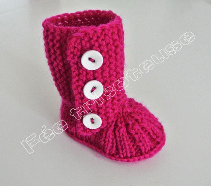 Chaussons bébé, chaussons de bébé tricotés à la main (bottes 13) est une création orginale de feetricoteuse sur DaWanda