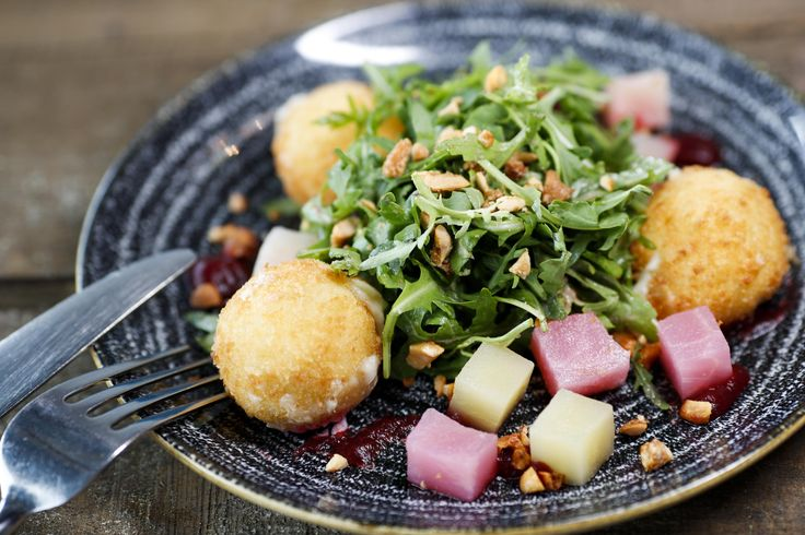 Goat's cheese bon bons, candied beetroot, beetroot purée, toasted hazelnut salad   #swords #dinner #tapas #smallplates #foodie #vegetarian #dublin #talented