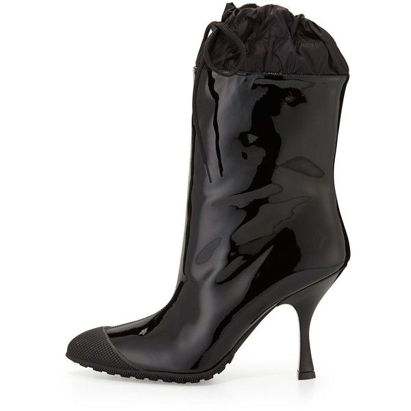 Miu Miu Patent Cap-Toe Rain Boot ($450) ❤ liked on Polyvore featuring shoes, boots, ankle booties, ankle boots, wellington boots, cuff ankle boots, rain boots and patent leather bootie