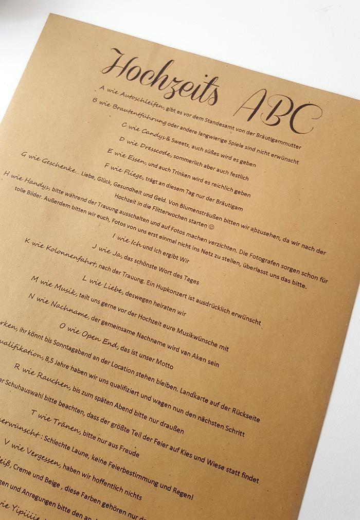 Ihr möchtet euren Gästen ein Hochzeits-ABC erstellen, habt aber noch keine Idee? Dann schaut bei uns vorbei.... Inspirationen | Tipps | Beispiele & Ideen