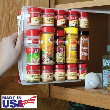 SpiceStor Organizer Spice Rack 40 Clip $18.95  Carousel spice racks are sometimes too tall or take up too much space in narrow pantries....